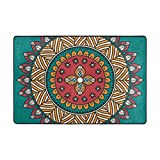 Retro Floral Mandala Pattern Green Area Rugs Door Mat 3'x2' Polyester Nonslip Entrance Home Decor for Bedroom Living Room Mats Front Indoor Outdoor,Green