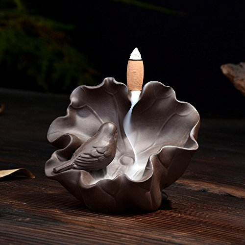 Tongyou Ceramic Backflow Incense Burner Holder Bird Sing Green Sandalwood for Home -