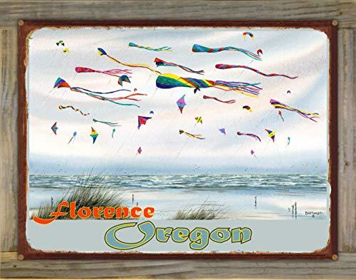 Northwest Art Mall Florence Oregon Flying Kites Rustic Metal Print on Reclaimed Barn Wood by Dave Bartholet (18