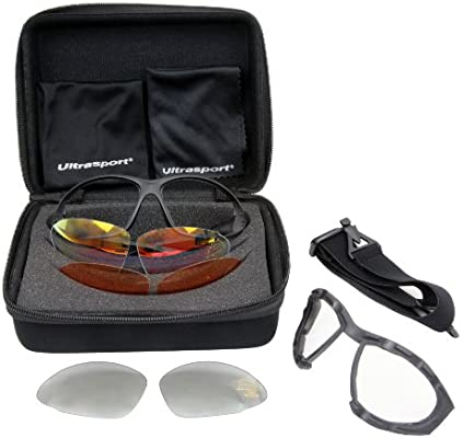 Ultrasport Multifunktions-Sportbrille inkl 3 Paar Wechselgläser mit Anti-Fog
