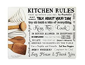 Moni's Kitchen Rules Tempered Glass Utility Board - Cutting Board, Serving Tray, Hot Plate, Cheese Platter