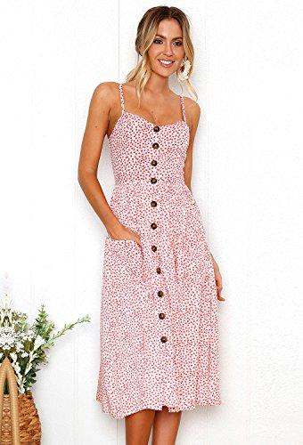 9e1228960288 Minetom Damen Kleider Sexy Sommer V Ausschnitt Spaghetti Buegel Blumen  Sommerkleid Elegant Boho Cocktail Dress Mode ...