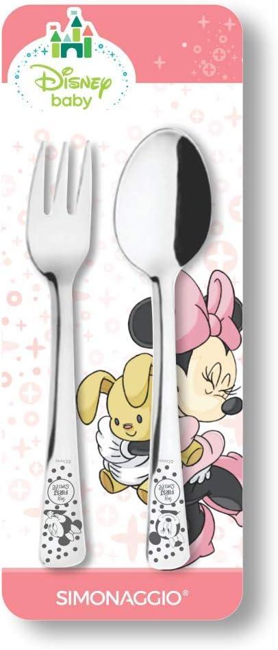 Jogo de Talheres Infantil Disney Baby Minnie, Simonaggio, Inox, Pacote...