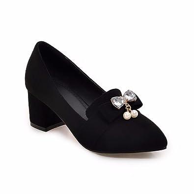 RFF-Women's Shoes High Heels Hingewiesen, Fliege, Einzigen Mund Schuhe, Wildleder Schuhe, Große Schuhe, Gules, 34