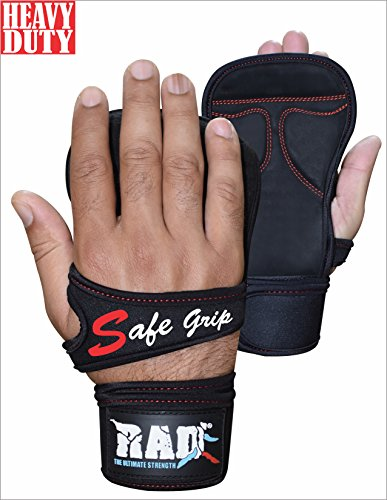 RAD Heavy Duty Nubuck Sweat Leather Workout Gloves with Strong Wrist Support Specially for Cross Training, Crossfit, Weightlifting, Pullups, Gym, Powerlifting Men and Women (Small/Medium, Black)