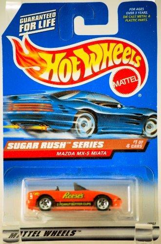 Hot Wheels 1997 Sugar Rush Series Mazda MX-5 Miata Convertible 1/4 (Reese's Peanut Butter Cups Graphics) ()