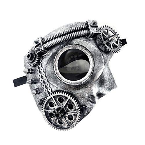 (Storm Buy] Steampunk Style Phantom Metallic Half Face Men Masquerade Ball Mask Prom Party (Dark)