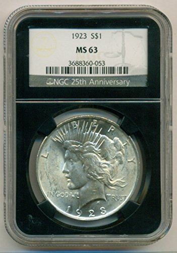 1923 Peace Silver Black Retro Label Dollar MS63 NGC