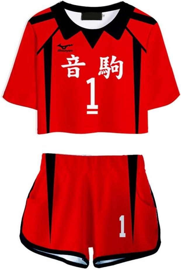 Cerolopy 2 Piece Outfits Anime Haikyuu Nekoma High School Crop Top Short Pants Set Unisex Pajamas Gym Dance Sports Trendy Fashion Summer Hot Short Running Kuroo Tetsurou-L
