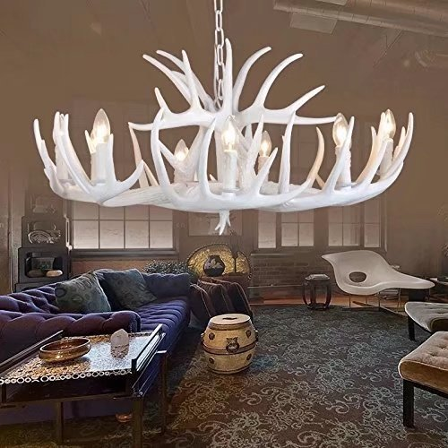 (JHT Resin Antler Chandeliers 9 Light 4 Feet Matching Chain (White))