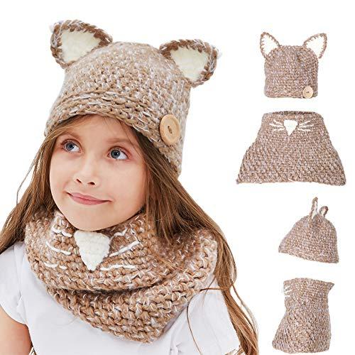 Tacobear Kids Beanie Hat Handmade Knit Cat Crochet Animal Hat Scarf Warm Winter Hat Coif Hooded Hat for Boys Girls (Khaki Cat)