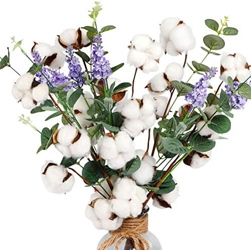 "AGEOMET 6pcs 20"" Cotton Stems Cotton Flower, Cotton Floral Stems with Eucalyptus Leaves and Lavender Flower for Farmhouse Style Cotton Decorations"