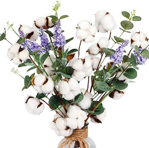 """AGEOMET 6pcs 20"""" Cotton Stems Cotton Flower, Cotton Floral Stems with Eucalyptus Leaves and Lavender Flower for Farmhouse Style Cotton Decorations"""