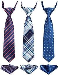Enlision 3pcs Boys Pre-Tied Neckties & Pocket Square Set Neck Strap Tie for Kids Blue/Navy Blue/Red
