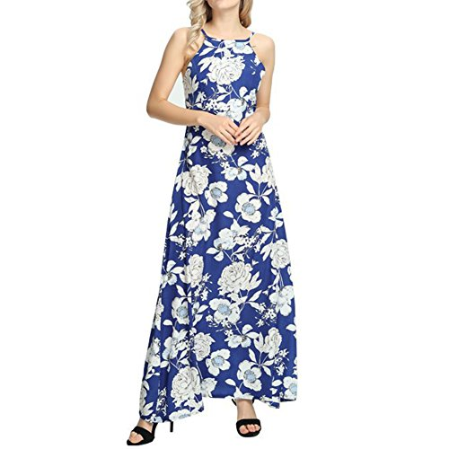 iShine Maxikleid Damen Lang Sommerkleid Ärmellos Neckholder Kleid  Strandkleid Bodenlanges Kleid Ip3iKbPNT 4797f8f106