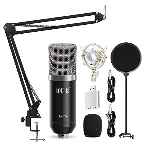TONOR XLR Condenser Microphone Kit with XLR to XLR Cable/3.5mm to XLR/Adjustable Mic Suspension Scissor Arm/Shock Mount/USB Audio Adapter for Professional Studio/Home Recording, Podcasting, Black from TONOR