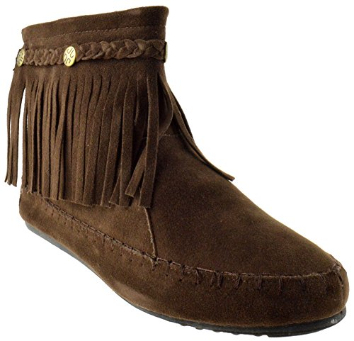 TG 01 Fringe Moccasin Ankle Boots Coffee - Ankle Boots Indian