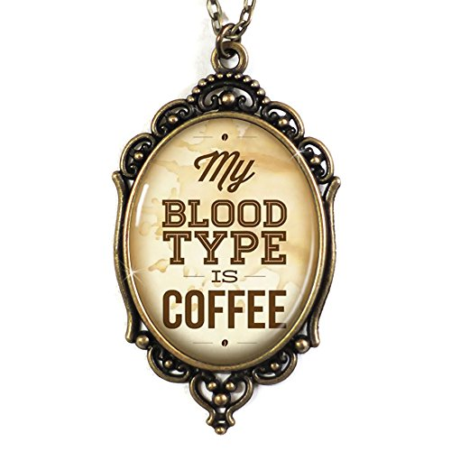 My Blood Type Is Coffee Cameo Necklace in Bronze, Domed Glass Tile