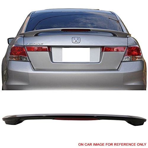 Pre-Painted Trunk Spoiler Fits 2008-2012 Honda Accord | OE Style Painted #NH731P Crystal Black Pearl ABS Trunk Boot Lip Spoiler Wing Deck Lid With LED Brake Other Color Available By IKON MOTORSPORTS