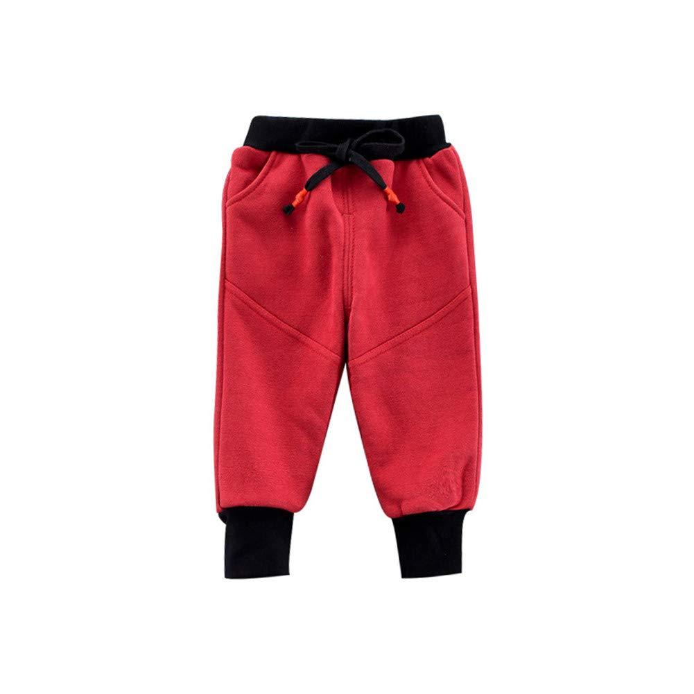 Boys Cotton Sweatpants Baby Elastic-Bottom Sport Pants Kid Toddler Fleece Jogger Trunks Stretch Active Basic Slacks