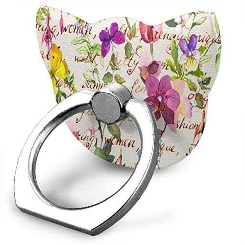 Great Customized Finger Ring Stand Floral Watercolor Meadow Flower Butterfly 360°Rotation Cell Phone Ring Stand Holder Grip Universal Smartphone Ring