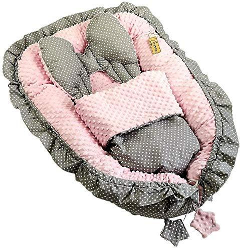 Wei/ß-Rosa-Sterne 28 Babynest Babybett Kuschelnest Nestchen Reisebett Sweet Angel 3 Tlg.