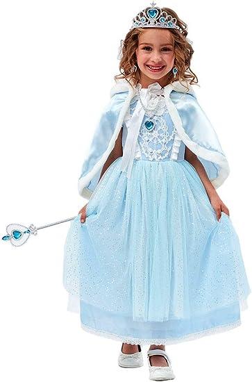 Agaruu Robe Cendrillon Fille Costume Snow Queen Avec Accessoires Complets Bebe Fille Amazon Fr Vetements Et Accessoires