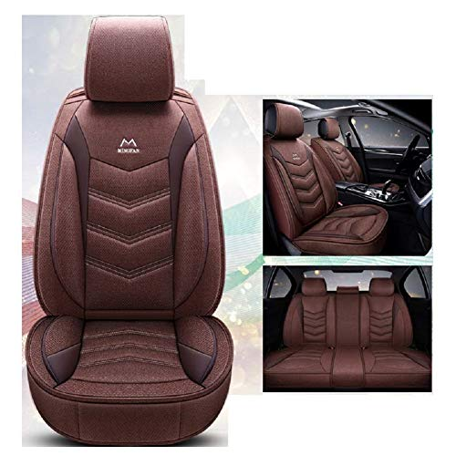 OUTOS Luxury Cotton and Linen Blended Weave Auto Car Seat Covers 5 Seats Full Set Universal Fit - Seat Cover Brown