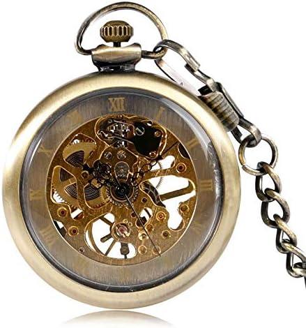 YXZQ懐中時計、フォブ機械式クラシックブロンズ手巻きヴィンテージスチームパンク時計オープンフェイス男性女性ペンダントチェーン