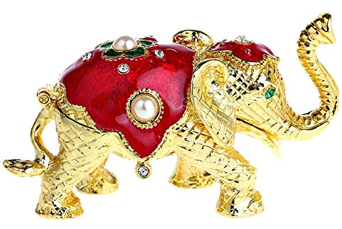 (YU FENG Elephant Figurine Collection Hand-Painted Hinged Trinket Box Ring Holder with Gift Box)