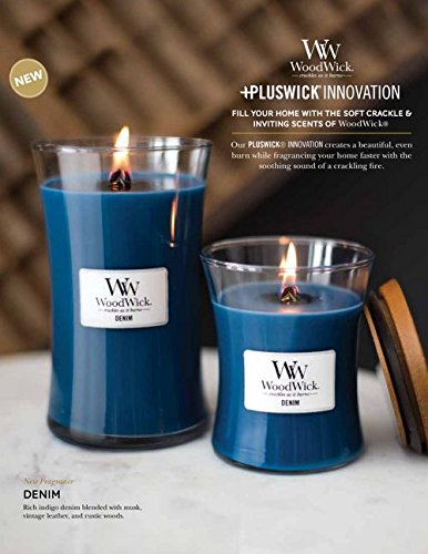 NEW DENIM WoodWick Glass Jar Scented Candle, Large 22 oz. by WoodWick (Image #1)