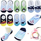Yshare® 5 Pairs Boys 6-24 Month Cartoon Baby Toddler Anti Slip Skid Low Cut Boat Socks + Gift Bangle , No Show Newborn Socks