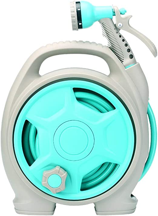 JU&MU Mini Carrete de Manguera de Agua portátil para jardín, multifunción, Cabezal de Pistola, Light Aquamarine: Amazon.es: Jardín