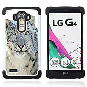 GIFT CHOICE / Defensor Cubierta de protección completa Flexible TPU Silicona + Duro PC Estuche protector Cáscara Funda Caso / Combo Case for LG G4 // Snow Leopard Tiger Furry Winter Animal //