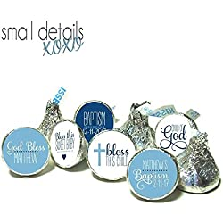 BAPTISM kiss stickers - Personalized candy stickers ~ fits Hershey's Kisses Chocolate ~ Stickers Only - blue (108 peel & stick stickers)