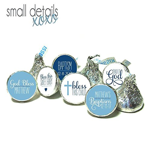 BAPTISM kiss stickers - Personalized candy stickers ~ fits Hershey's Kisses Chocolate ~ Stickers Only - blue (108 peel & stick stickers) Baptism Chocolates