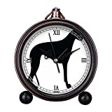 Vintage Retro Living Room Decorative Non-ticking, HD Glass Lens, Quartz, Analog Large Numerals Bedside Table Desk Alarm Clock Cute Cat Dog Series -348.Greyhound Silhouette