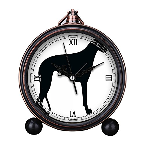 Vintage Retro Living Room Decorative Non-ticking, HD Glass Lens, Quartz, Analog Large Numerals Bedside Table Desk Alarm Clock Cute Cat Dog Series -348.Greyhound ()