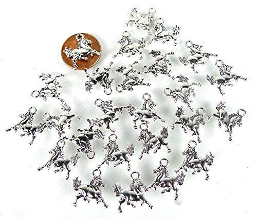 (25 Pcs Galloping Horse Running Charms Antique Silver Pewter Western Charm Pendant Necklace Jewelry Making Supplies Craft DIY Kit)