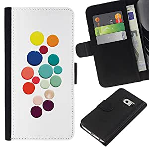 Samsung Galaxy S6 EDGE / SM-G925(NOT FOR S6!!!) Modelo colorido cuero carpeta tirón caso cubierta piel Holster Funda protección - Color White Dots Colorful