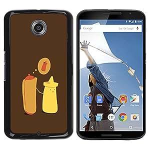For Motorola NEXUS 6 / X / Moto X Pro Case , Hot Dog Mustard Cartoon Minimalist - Diseño Patrón Teléfono Caso Cubierta Case Bumper Duro Protección Case Cover Funda