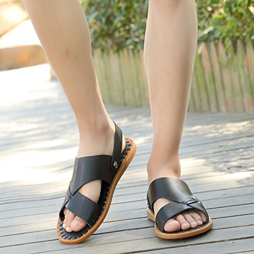 Leather Slides Non Beach U Black Sandals Fisherman Shoes Summer Open Sports Slip Outdoor Casual MAC Mens Toe qCWCwnXtp