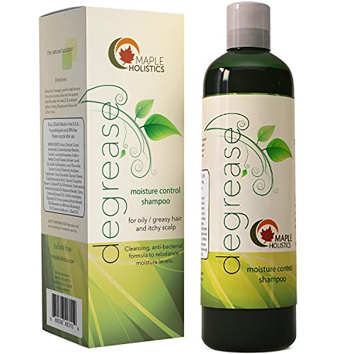 Shampoo for Oily, Itchy & Greasy Hair with Organic Rosemary, Peach Kernel and Jojoba - 100% Natural Treatment for Women, Men & Teens - Stimulates Cell Renewal and Increases Scalp/hair Circulation - Gentle & Safe for Color Treated Hair - (8oz) By Maple Holistics ()