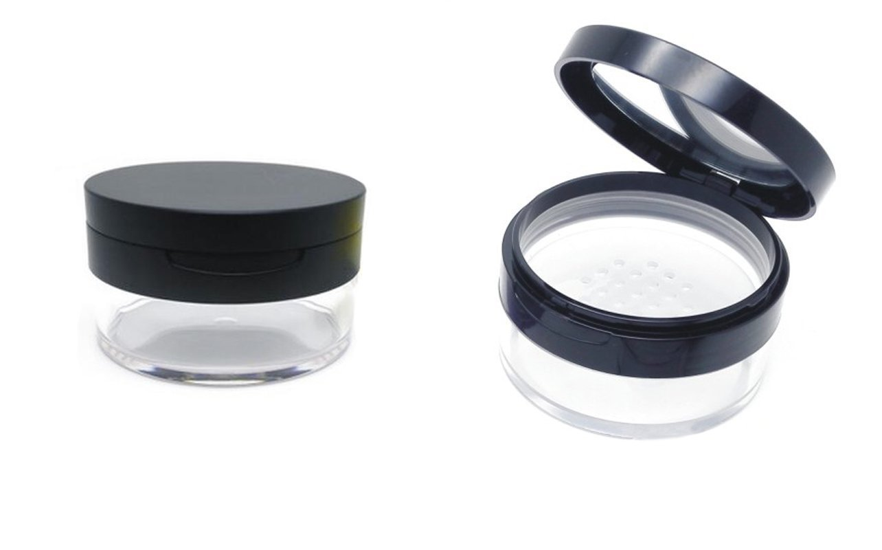20ml 0.67oz vacío rellenable DIY Maquillaje Polvos de maquillaje Carcasa contenedor con suave esponja Puff Espejo y tamiz Fundación Cosméticos caja erioctry