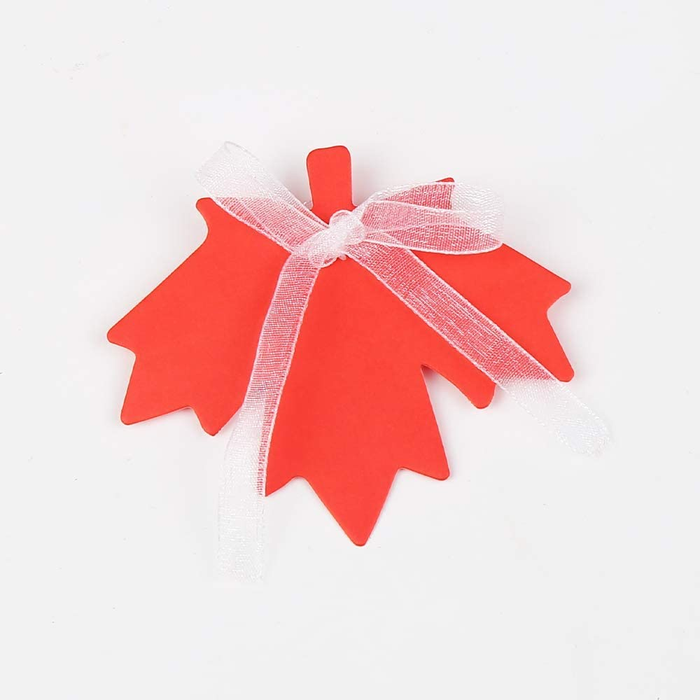 CCINEE 120pcs Color Maple Fall Leaf Paper Tags Colorful 6 Styles Leaf Craft Hang Tags with Organza Ribbons for Halloween Thanksgiving Christmas Party Favor