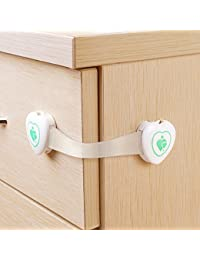 BABY MATE Premium 6 PCS Adjustable Drawer Cabinet Latches for Baby Proof (3.5