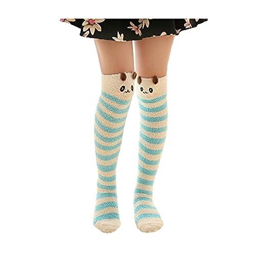 f19726a3d Women Winter Cute Villi Soft Warm Long Knee High Socks 1 Pairs (blue dog)