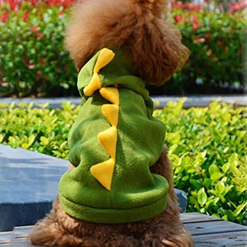 DDU(TM) 1Pcs Green- Warm Pet Dog Puppy Cat Dinosaur Clothes Apparel Outfit Hoodie Coat Clothing Costume(Size: M)