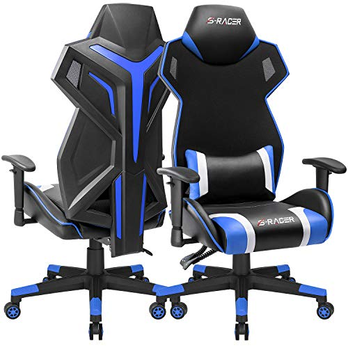 - Homall Gaming Chair Racing Style Office Chair High Back Computer Desk Chair Ergonomic Swivel Chair Breathable Mesh Back Bucket Seat Chair with Adjustable Armrest (BK/Blue)