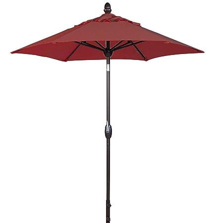 SORARA Patio Umbrella Outdoor Market Table Umbrella with Push Button Tilt Crank Umbrella Cover, 7.5 Feet, Jockey Red